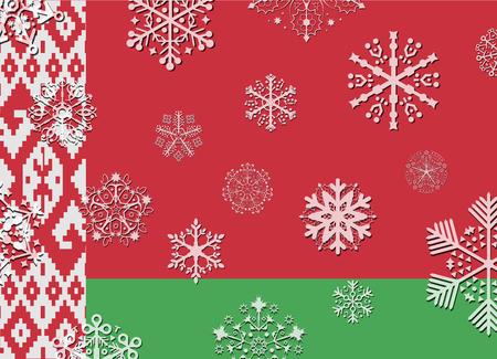 belarus: belarus flag with snowflakes