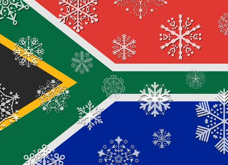 south africa flag: south africa flag with snowflakes