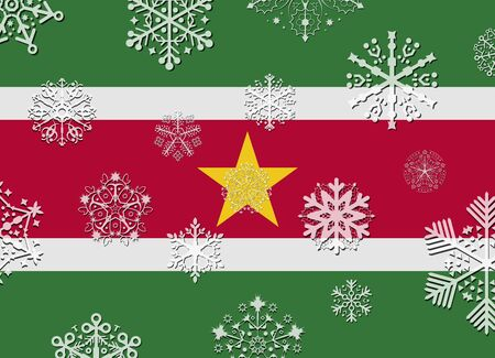suriname: suriname flag with snowflakes