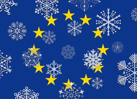 european union: european union flag with snowflakes