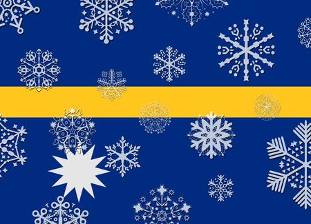nauru: nauru flag with snowflakes
