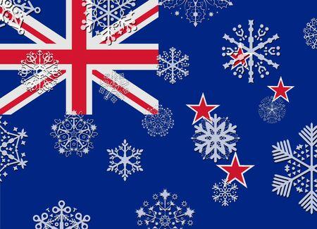 bandera de nueva zelanda: bandera de Nueva Zelanda con copos de nieve