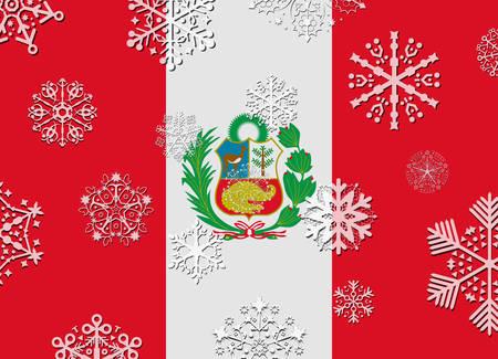 bandera peru: bandera de Per� con copos de nieve Vectores