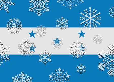 bandera honduras: bandera de Honduras con copos de nieve