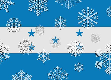 honduras: honduras flag with snowflakes