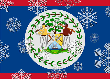 belize: belize flag with snowflakes
