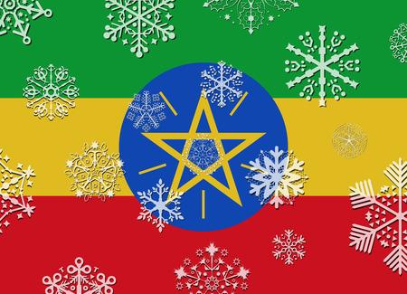 ethiopia flag: ethiopia flag with snowflakes