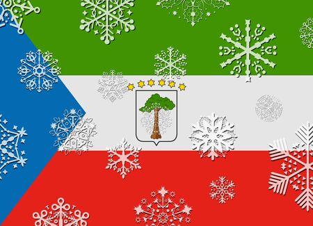 equatorial guinea: equatorial guinea flag with snowflakes