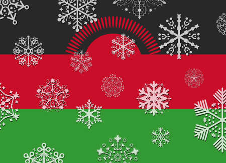 malawi: malawi flag with snowflakes