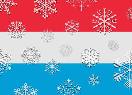 luxembourg: luxembourg flag with snowflakes