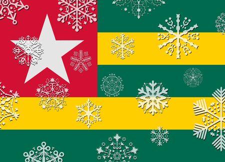 togo: togo flag with snowflakes