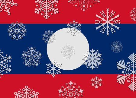 laos: laos flag with snowflakes