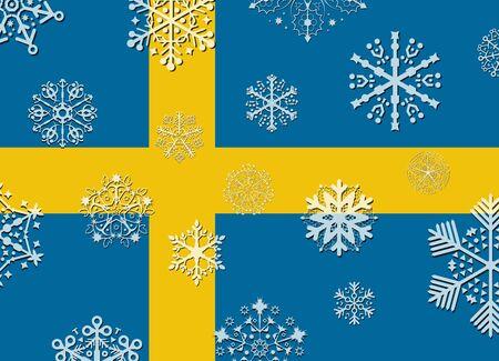 bandera suecia: bandera de suecia con copos de nieve