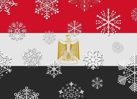 bandera de egipto: Bandera de Egipto con copos de nieve Vectores