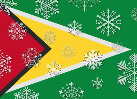 guyana: guyana flag with snowflakes Illustration