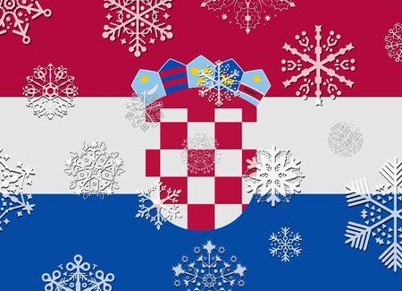 bandera croacia: Bandera de Croacia con copos de nieve