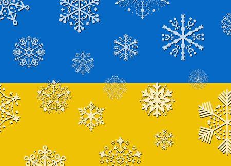ukraine: ukraine flag with snowflakes