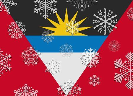 antigua: antigua flag with snowflakes Illustration