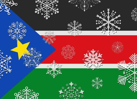 south sudan: south sudan flag with snowflakes