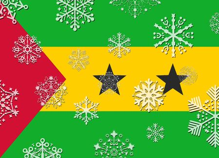 tome: sao tome flag with snowflakes