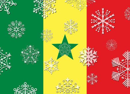 senegal: senegal flag with snowflakes