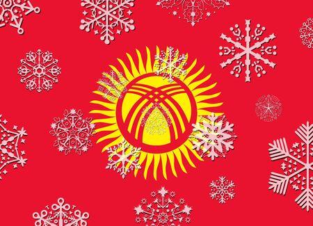 kyrgyzstan: kyrgyzstan flag with snowflakes