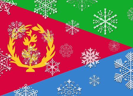 eritrea: eritrea flag with snowflakes