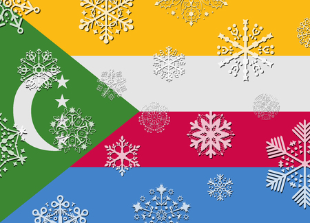comoros: comoros flag with snowflakes Vectores