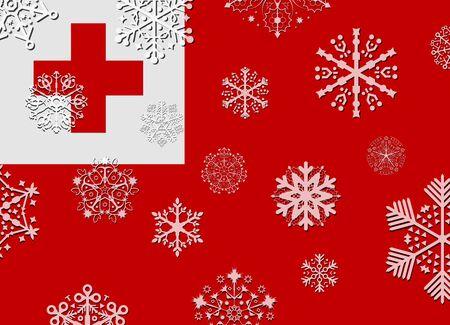 tonga: tonga flag with snowflakes Illustration