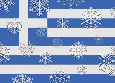 greece flag: greece flag with snowflakes