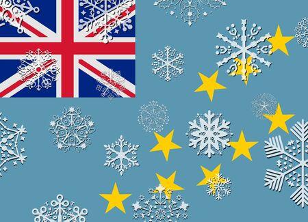 tuvalu: tuvalu flag with snowflakes