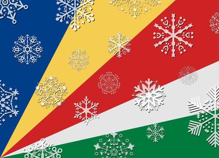 seychelles: seychelles flag with snowflakes