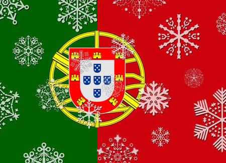 drapeau portugal: drapeau du portugal de flocons de neige Illustration