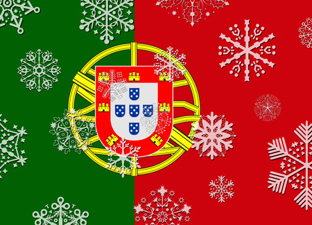portugal flag: portugal flag with snowflakes Illustration
