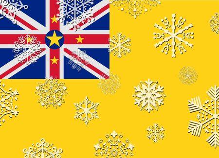 niue: niue flag with snowflakes Illustration