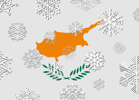 cyprus: cyprus flag with snowflakes Illustration