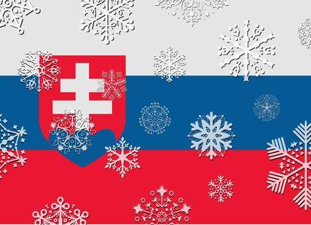 slovakia: slovakia flag with snowflakes