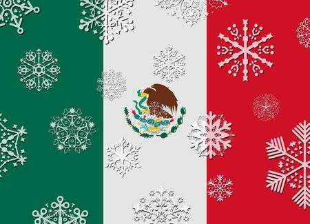 bandera mexico: mexico flag with snowflakes