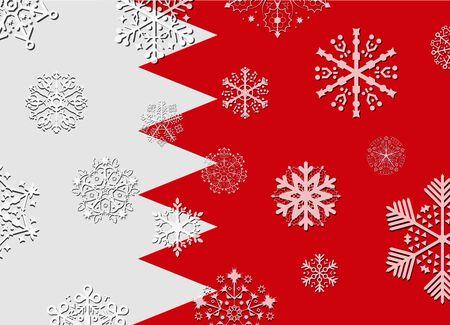 bahrain: bahrain flag with snowflakes Illustration