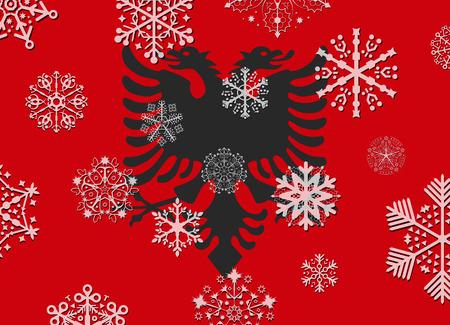 albania: albania flag with snowflakes