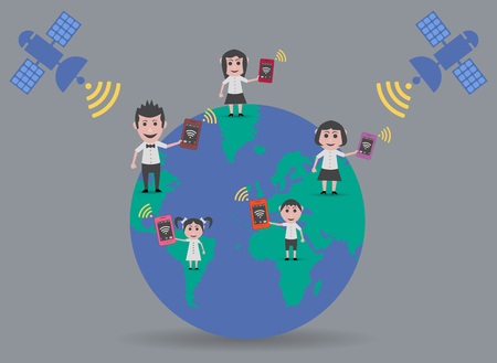 coverage: people coverage smartphone in the world Illustration