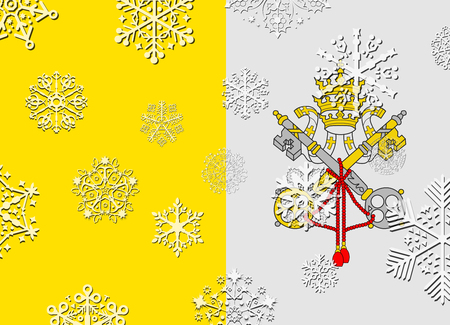 vatican city flag with snowflakes