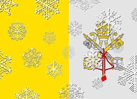 ciudad del vaticano: vatican city flag with snowflakes