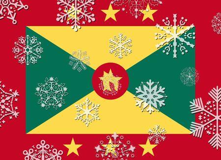 grenada: grenada flag with snowflakes