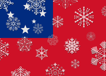 samoa: samoa flag with snowflakes