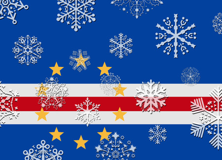 an        verde: cape verde flag with snowflakes Illustration