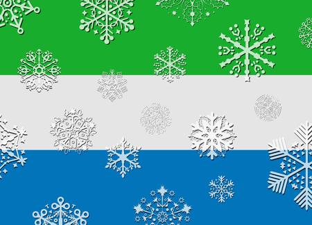sierra snow: sierra leone flag with snowflakes