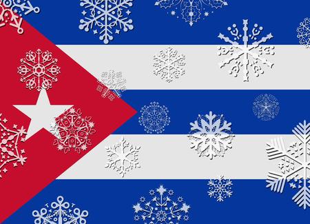bandera cuba: bandera de Cuba con los copos de nieve Vectores