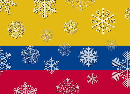 bandera colombia: colombia flag with snowflakes