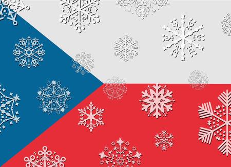 czech flag: czech flag with snowflakes